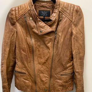 Zara authentic leather jacket in brown